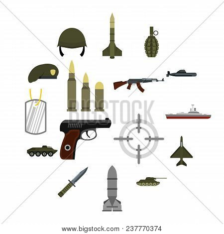 Flat Military Icons Set. Universal Military Icons To Use For Web And Mobile Ui, Set Of Basic Militar