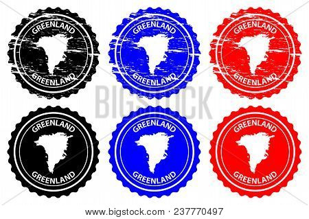 Greenland - Rubber Stamp - Vector, Greenland Map Pattern - Sticker - Black, Blue And Red