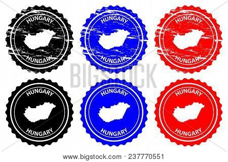 Hungary - Rubber Stamp - Vector, Hungary Map Pattern - Sticker - Black, Blue And Red