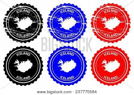 Iceland - Rubber Stamp - Vector, Iceland Map Pattern - Sticker - Black, Blue And Red
