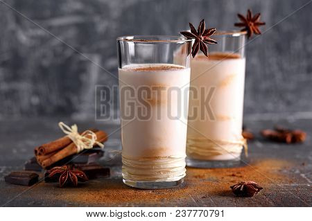 Milk  Shake  With  Chocolate  And  Cinnamon In A Glass