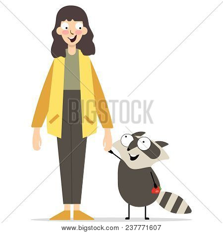 Young Girl With Cute Animal, Stand On White Background. Raccoon Wirh Food. Raccoon Holding Strawberr
