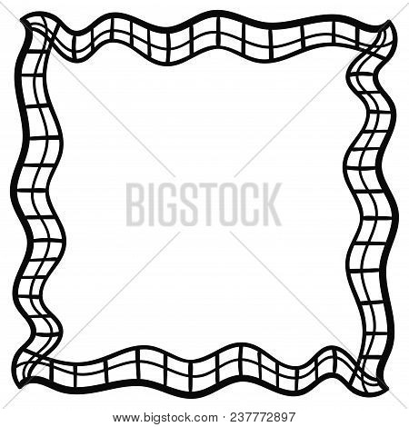 Square Abstract Doodle Frame. Checkered. Vector Illustration.