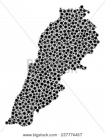 Lebanon Map Composition Of Round Spots In Different Sizes. Scattered Round Elements Are Grouped Into