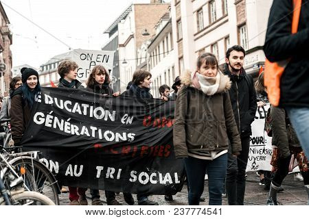 Strasbourg, France  - Mar 22, 2018: Group Of Education Generation By Students With Demonstration Pro