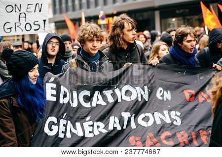 Strasbourg, France  - Mar 22, 2018: Students Education Placard At Demonstration Protest Against Macr