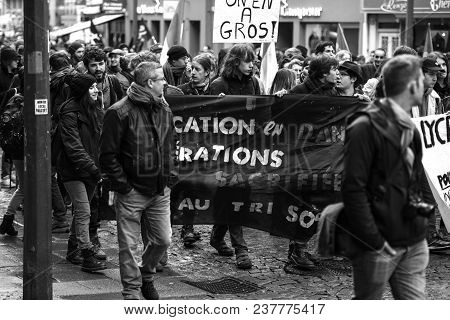 Strasbourg, France  - Mar 22, 2018: Demonstration Protest Against Macron French Government String Of