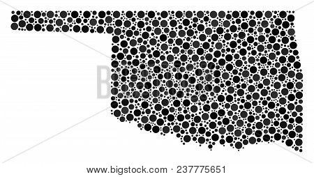 Oklahoma State Map Composition Of Circle Elements In Variable Sizes. Randomized Filled Circles Are G