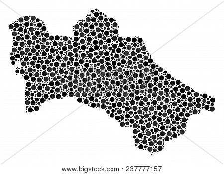 Turkmenistan Map Composition Of Small Circles In Various Sizes. Randomized Round Dots Are Organized
