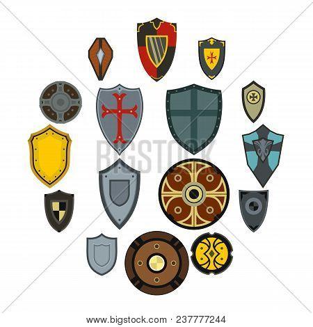 Flat Shield Icons Set. Universal Shield Icons To Use For Web And Mobile Ui, Set Of Basic Shield Elem