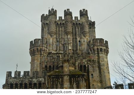 Battlements Of The Back Facade Of The Castle Of Butron, Castle Built In The Middle Ages. Architectur