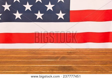 American Flag On Wooden Background . Independence Day Celebration. July 4th .