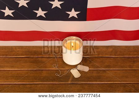 American Flag And Army Tokens On Memorial Day  . On Wooden Background