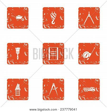 Repair In A Row Icons Set. Grunge Set Of 9 Repair In A Row Vector Icons For Web Isolated On White Ba