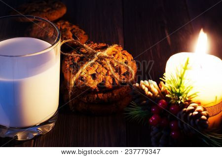 Christmas Tradition. Cookies And Milk. Close Up