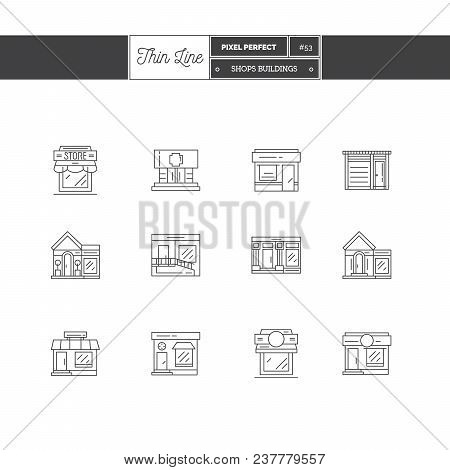 City Cafe, Food And Groceries Shops, Pharmacy And Stores Buildings Storefronts Line Icons Set. Thin