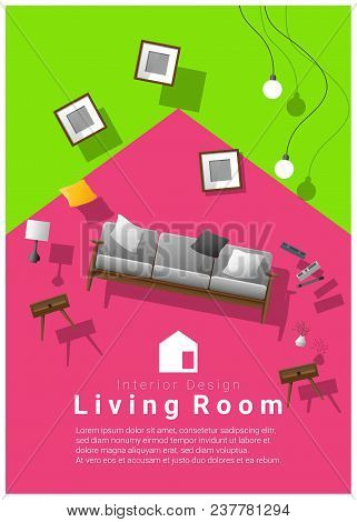 Vertical Interior Banner Sale With Living Room Furniture Hovering On Colorful Background , Vector ,