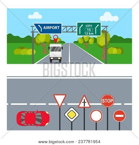 Horizontal Banners With Road Signs. Two Horizontal Banners With Transport And Road Signs. Flat Desig