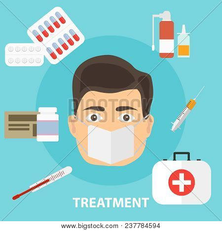 Treatment Of The Disease, The Concept Of Treating The Patient. Medicated Treatment. Flat Design, Vec