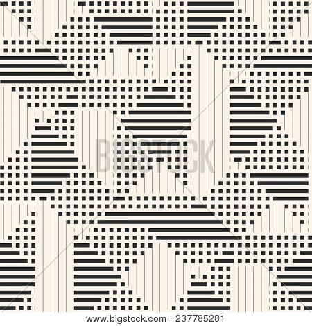 Vector Geometric Pattern. Abstract Graphic Background With Lines, Stripes, Squares, Small Elements.