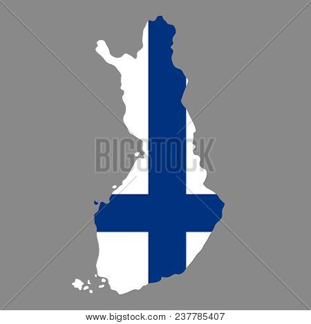 Silhouette Country Borders Map Of Finland On National Flag Background Of Vector Illustration