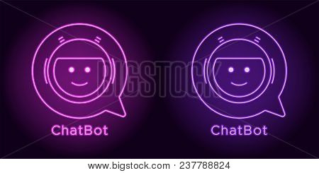 Neon Chat Bot In Purple And Violet Color. Vector Illustration Of Virtual Chatbot With Speech Bubble