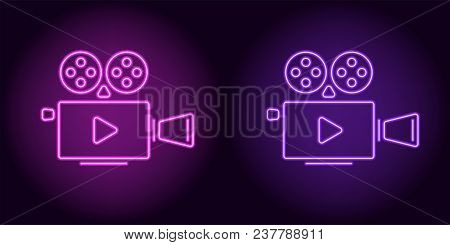Neon Cinema Projector In Purple And Violet Color. Vector Illustration Of Cinema Projector With Play