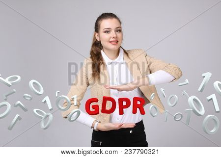 GDPR concept image. General Data Protection Regulation, the protection of personal data. Young woman working with information.