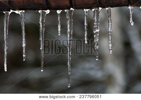 Frozen water - More icicles hanging from the roof.The icicle hang in edge roof. Icicles in front of