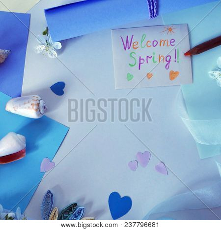 Hearts Of Colored Paper, Postcard, Ribbon On A Light Background