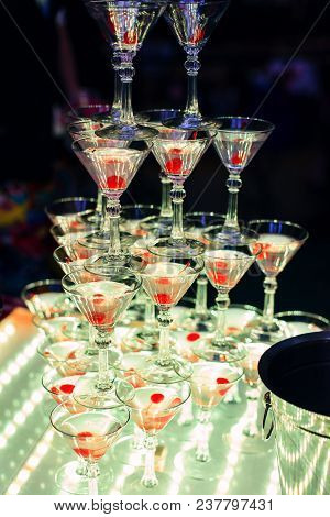 Slide Of Martini Glasses With Cherries For A Non-alcoholic Cocktail