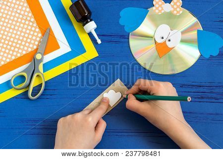 Child Makes Bird From Cd. Step 12