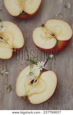 Half Red Apple Isolated Camomile Flowers Rustic Wooden Clsoe Up