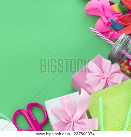 Festive Composition With Gift Box Decor For The Holiday Copy Space For Text Materials For A Holiday