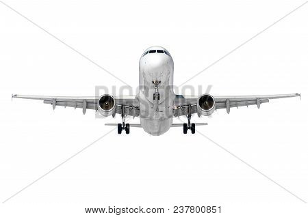 Passenger Aircraft, The View Is Exactly On The Nose And The Cockpit Of The Pilots, In The Middle. Is