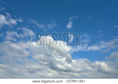 Blue summer sky white cumulus clouds background poster