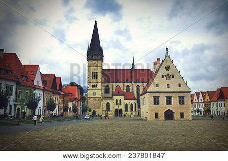 Bardejov Town Square With A Church And A Town Hall, Slovakian Beautiful Unesco Town, Europe.