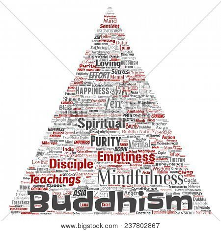 Conceptual buddhism, meditation, enlightenment, karma triangle arrow red word cloud isolated background. Collage of mindfulness, reincarnation, nirvana, emptiness, bodhicitta, happiness concept poster