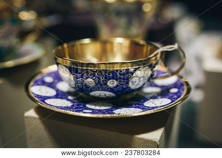 Gorgeous Collectible Tea Set On The Shelf.