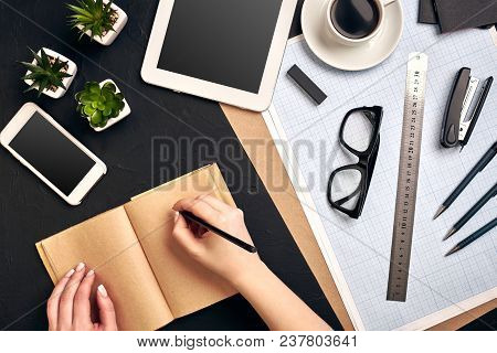 Concept Architects. Architects Workplace, Architectural Project, Blueprints, Ruler. Engineer Holds A