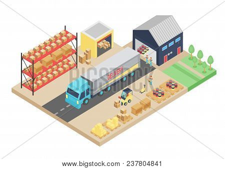 3d Isometric Process Of The Warehouse. Cargo Storage Vector Illustration. Warehouse Logistic Interio