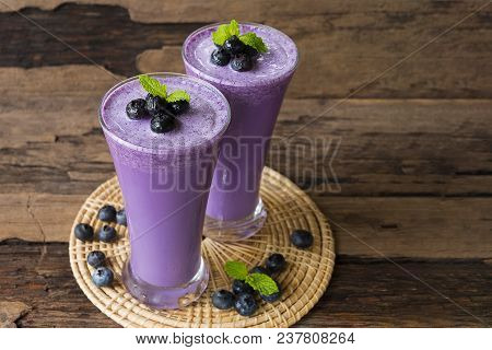 Blueberry Smoothies Juice Purple Beverage Healthy The Taste Yummy In Glass Drink Episode Morning On
