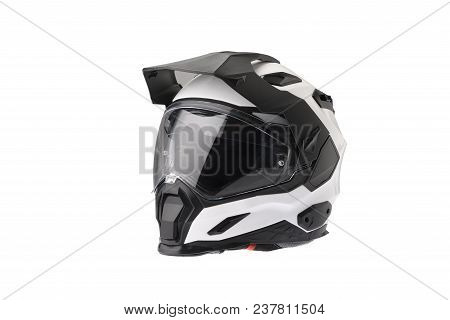 Full Face Motorcycle White Helmet, Close The Face Shield Use To Protect The Head From Injuries. Isol