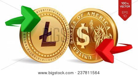 Litecoin To Dollar Currency Exchange. Litecoin. Dollar Coin. Cryptocurrency. Golden Coins With Litec