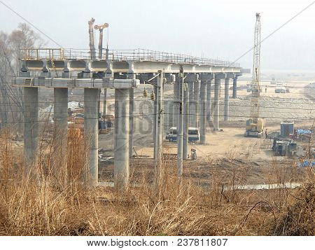 Building Of New Overpass, Viaduct In The Woods