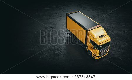Yellow Truck On A Black Background.yellow Truck 3d Rendering And Illustration.