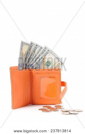 Money In Wallet. Full Wallet Of American Dollars
