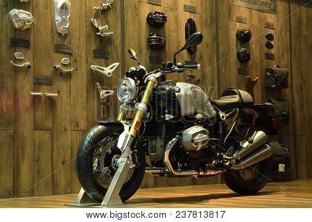 Nonthaburi,thailand - April 6, 2018: The Bmw R Ninet Scrambler, Heritage Motorbike Harks Back To The