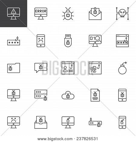 Cyber Crime Outline Icons Set. Linear Style Symbols Collection, Line Signs Pack. Vector Graphics. Se