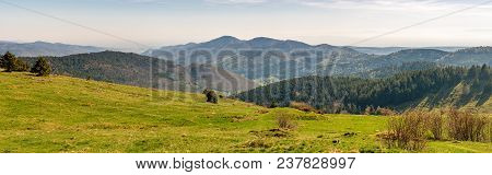 French Landscape - Vosges. View Towards The Vosges Massif With Hills And Trees In The Early Morning.